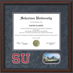 Schreiner University Diploma Frame with Grey Suede Mat