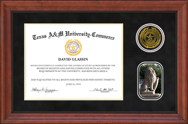 Texas A Amp M University Commerce Black Suede Diploma Frame