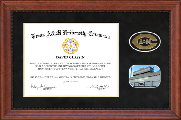 Texas A&M Commerce Diploma Frame in Black Suede: Wordyisms