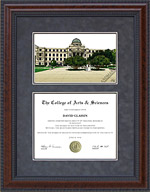 Diploma Frame with Texas A&M University (TAMU) Campus Lithograph