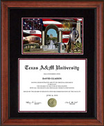 Texas A&M Ascot Diploma Frame with Campus Photo