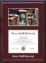 Texas A&M Cherry Diploma Frame with Campus Photo