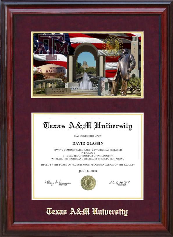 Texas A&M Cherry Diploma Frame with Campus Photo: Wordyisms