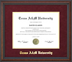 Texas A&M Diploma Frame with Maroon Suede Mat & Gold Embossing