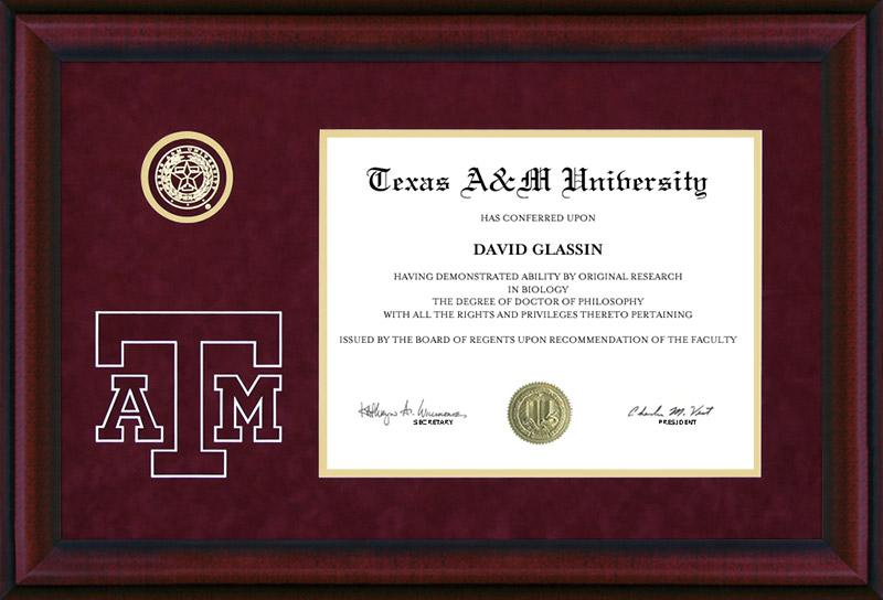 Texas A&M Diploma Frame with Bevel-Cut Logo: Wordyisms