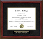 Temple College Mahogany Diploma Frame