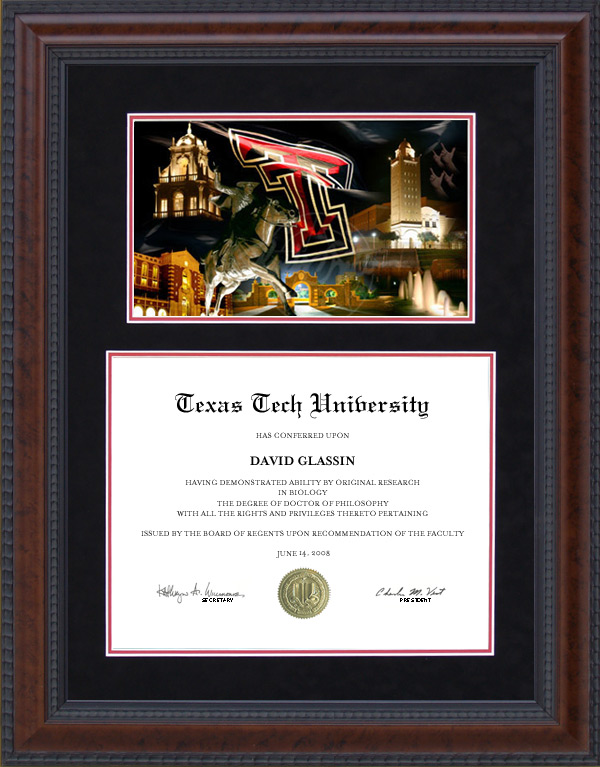 Texas Tech Diploma Frame with Suede Mat and Campus Photo: Wordyisms