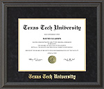Texas Tech Diploma Frame with Black Suede Mat & Gold Embossing