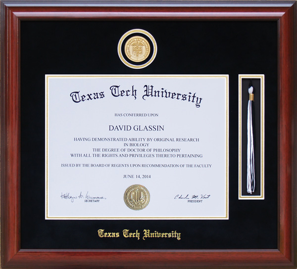 Texas Tech Tassel Diploma Frame with Medallion: Wordyisms