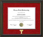 Texas Tech Diploma Frame in Red Suede Mat, Gold Embossed Double T