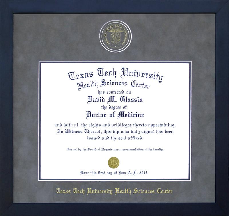 Texas Tech Health Sciences Center Embossed Diploma Frame: Wordyisms