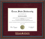 Texas State Diploma Frame with Embossed Maroon Suede Mat