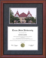 Texas State Diploma Frame with Campus Lithograph