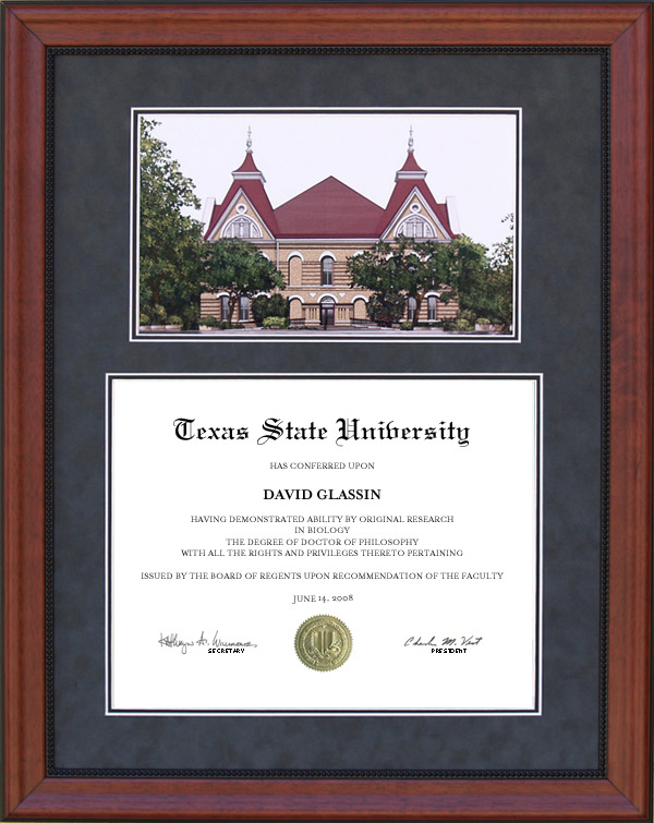 texas state diploma frame with campus lithograph wordyisms