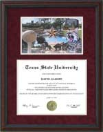 Texas State Diploma Frame with Campus Montage