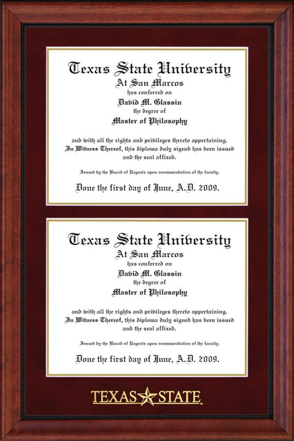 Texas State Double Diploma Frame Wordyisms