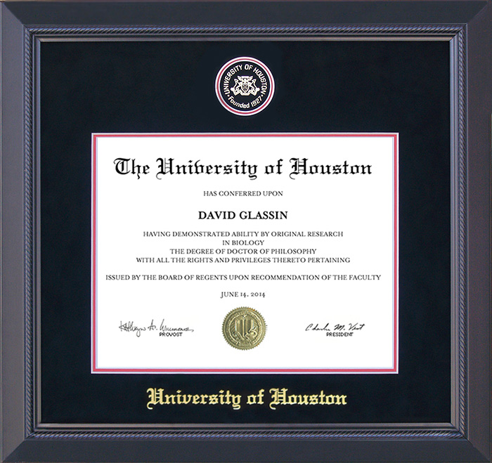 University of Houston Diploma Frame with Suede Mat: Wordyisms
