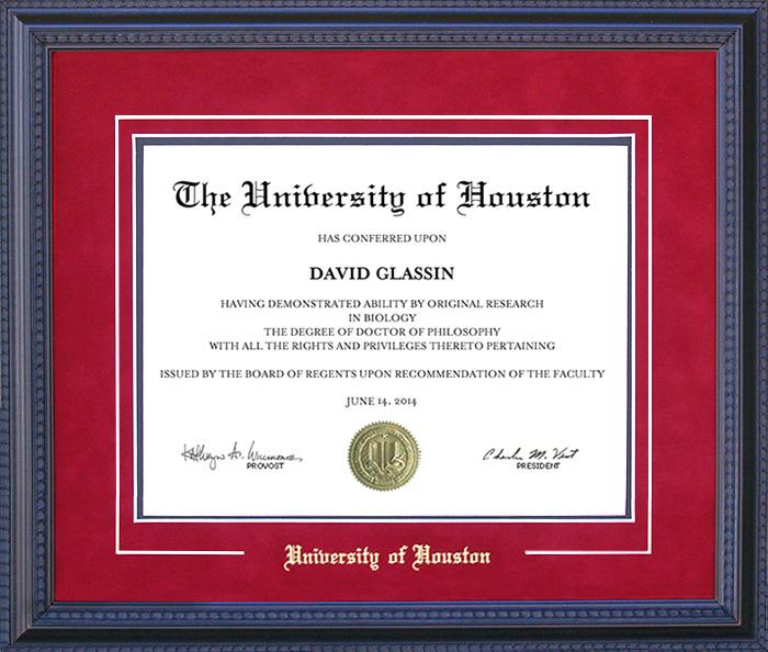 University of Houston Embossed Diploma Frame: Wordyisms