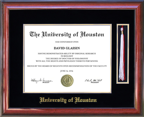 University of Houston Tassel Diploma Frame: Wordyisms