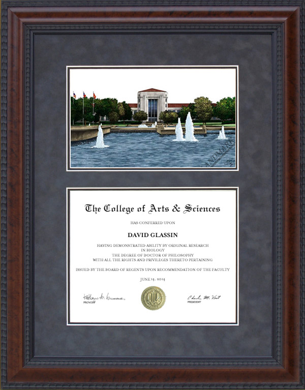 diploma frame with university of houston uh campus lithograph