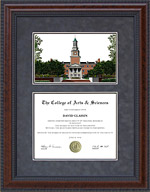 Diploma Frame with University of North Texas (UNT) Campus Lithograph