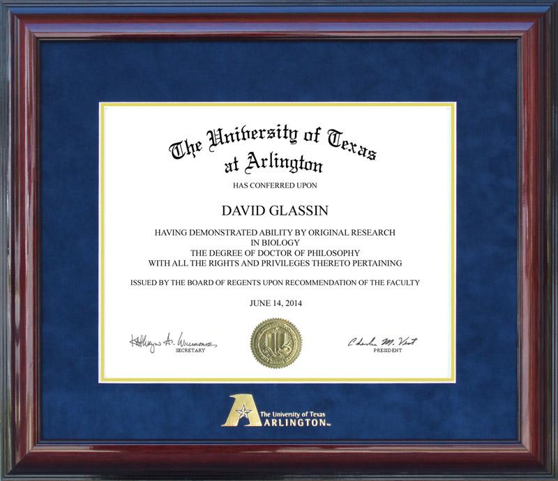 UT Arlington Diploma Frame with Embossed Logo: Wordyisms