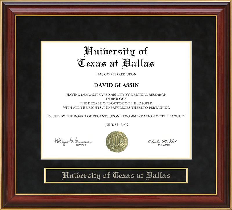 University Of Texas At Dallas Utd Mahogany Diploma Frame Wordyisms