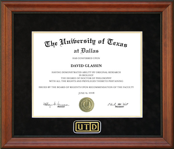 Utd Diploma Frame With Black Suede Mat Wordyisms