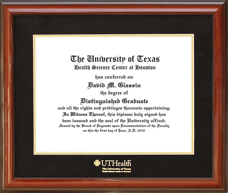 UT Health Diploma Frame with Suede Matting: Wordyisms