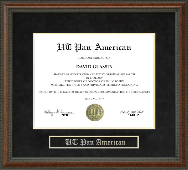 University of Texas - Pan American (UTPA) Diploma Frame: Wordyisms