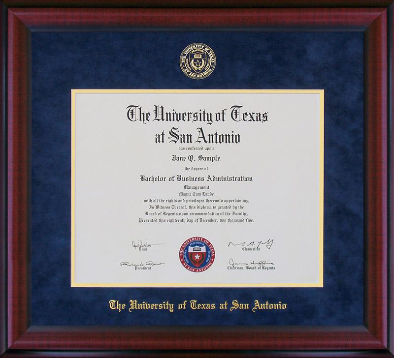 UT San Antonio Diploma Frame with Embossed Suede Mat: Wordyisms