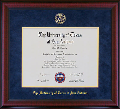 UT San Antonio Diploma Frame with Embossed Suede Mat