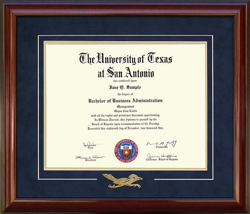 UTSA Diploma Frame with Embossed Rowdy: Wordyisms