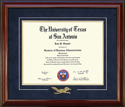 UTSA Diploma Frame with Embossed Rowdy