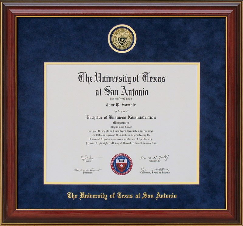 UTSA Diploma Frame with Custom Minted Medallion: Wordyisms