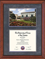 UTSA Diploma Frame with Campus Lithograph or Photo Choice