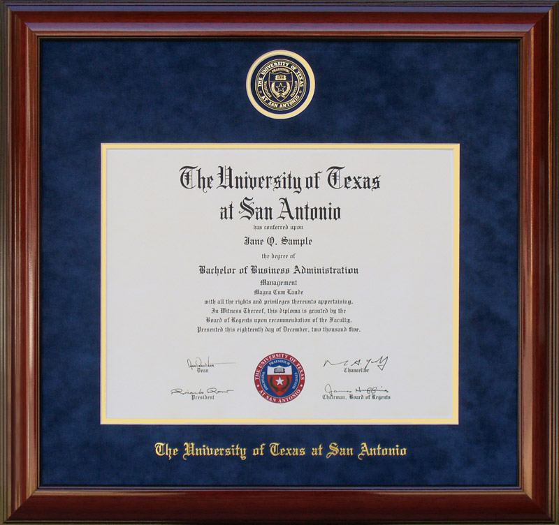 UTSA Frame with Suede Mat and Embossed School Seal: Wordyisms