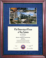 UTSA Diploma Frame with Campus Photo Montage