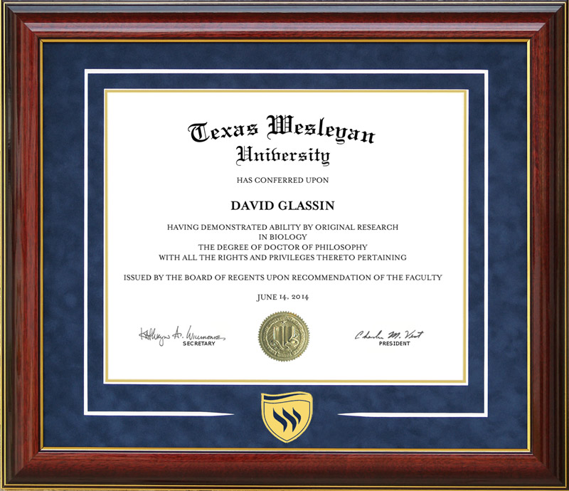 Texas Wesleyan University Classic with a Twist Diploma Frame: Wordyisms