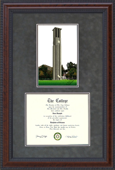 UC Riverside Document Frame with Campus Lithograph