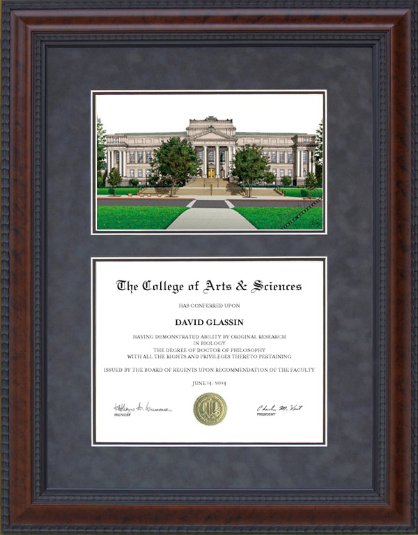 Diploma Frame with University of Utah (U of U) Campus Lithograph ...