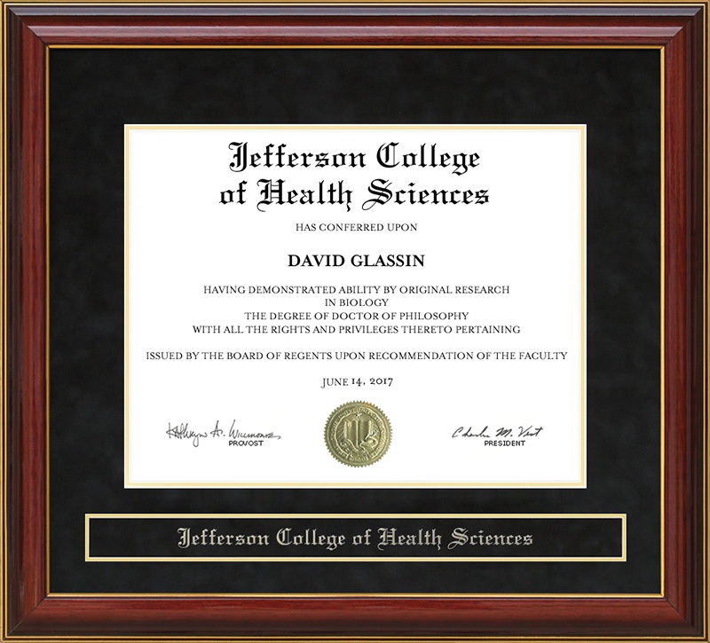 Jefferson College Of Health Sciences - Jefferson College of Health Sciences (JCHS) Mahogany Diploma Frame ...