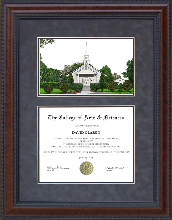 Diploma Frame with Licensed Liberty University Campus Lithograph ...