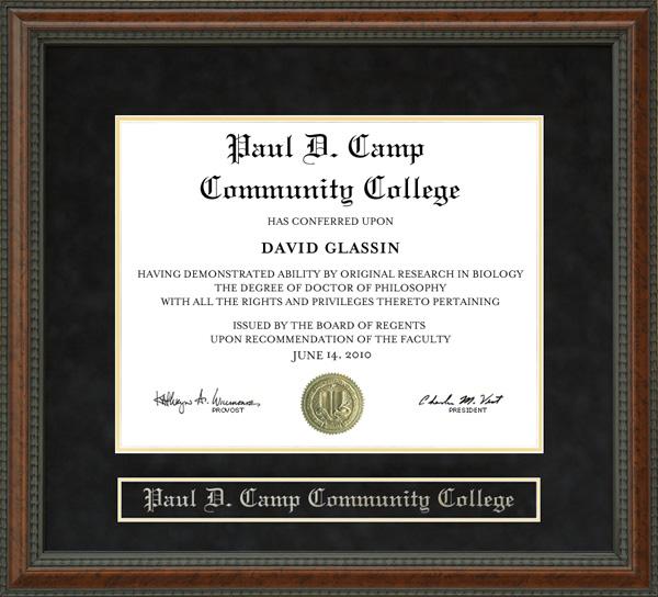 Paul D Camp Community College Pdccc Diploma Frame Wordyisms