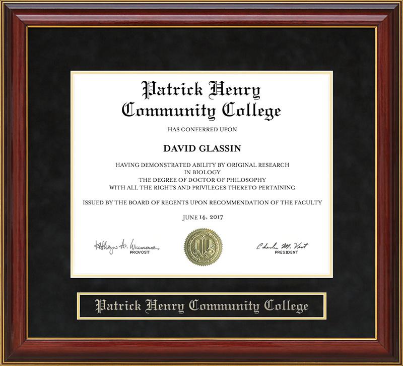Patrick Henry Community College Mahogany Diploma Frame