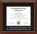 Community College of Vermont (CCV) Mahogany Diploma Frame
