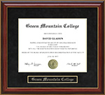 Green Mountain College (GMC) Mahogany Diploma Frame