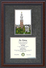 University of Vermont (UVM) Document Frame with Campus Lithograph