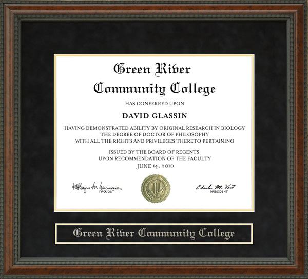 Green River Community College Grcc Diploma Frame Wordyisms