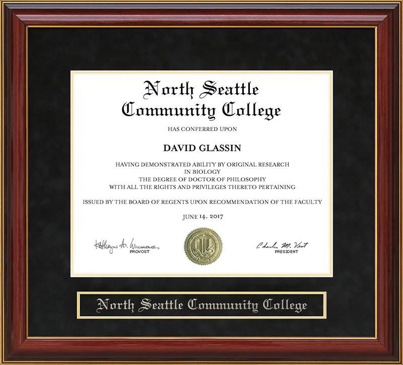 North Seattle Community College Nscc Mahogany Diploma